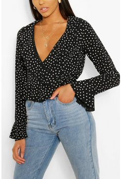 Black Tall Polka Dot Wrap Top