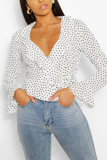 White Tall Polka Dot Wrap Top