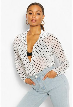 Ivory white Tall Chiffon Polka Dot Shirt Blouse