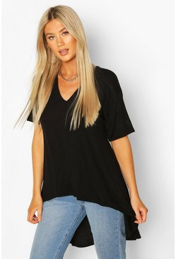 Black svart Tall - Basic t-shirt med rundad kant