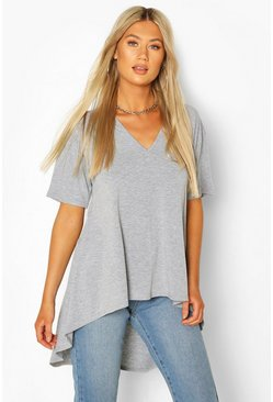 Grey marl grey Tall Basic Eclipse Hem T-Shirt