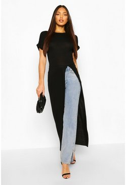 Black Tall Basic Jersey Maxi Split Top