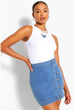 Mid blue Tall Denim Button Front Mini Skirt
