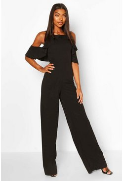 Black Tall Ruffle Detail Wide Leg Jumpsuit