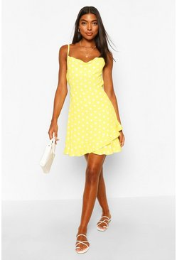 Yellow Tall Polka Dot Ruffle Slip Dress