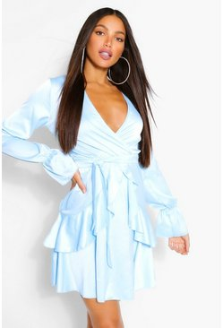 Blue Tall Woven Ruffle Front Tie Waist Skater Dress