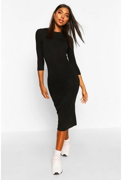 Black Tall Split Hem Jersey T-Shirt Dress