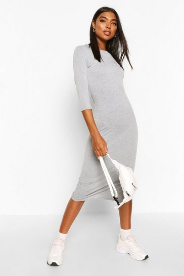 Grey Tall Split Hem Jersey T-Shirt Dress