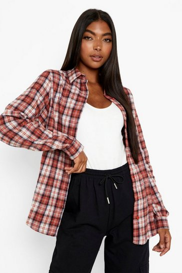 Rust orange Tall Checked Shirt