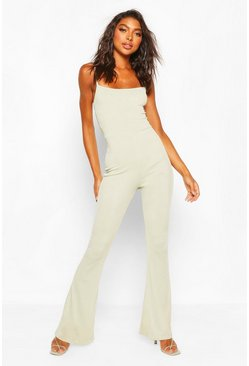 Sage green Tall Flare Leg Rib Jumpsuit