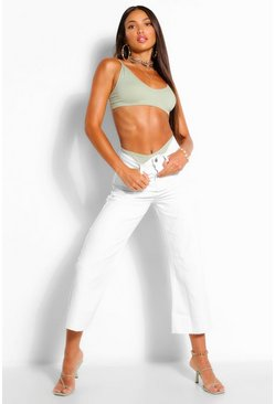 Ecru white Tall Denim High Waist Frayed Hem Straight Jeans
