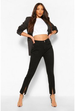 Black Tall Denim Split Front Straight Leg Jeans