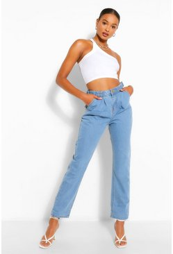 Mid blue Tall Denim Turn Up Mom Jeans
