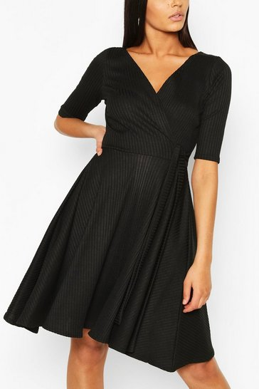 Black Tall Rib Wrap Tie Side Tea Dress