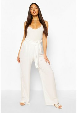 Ivory white Tall Linen Look Wide Leg Pants