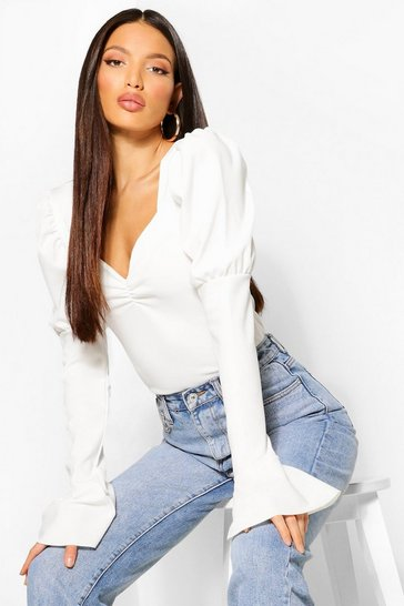 White Tall Puff Sleeve Ruched Front Top