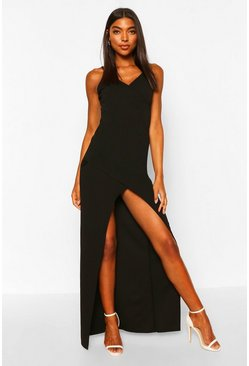 Black Tall Wrap Maxi Dress