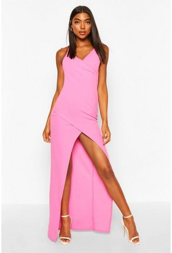 Hot pink pink Tall Wrap Maxi Dress