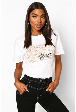 White Tall Leopard Print 'Paris' Graphic T-Shirt