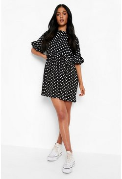 Black Tall Polka Dot Smock Dress