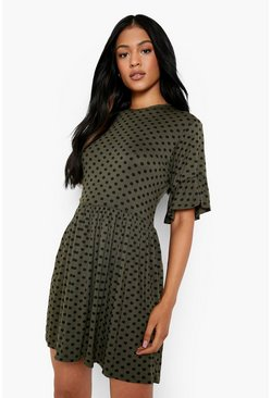 Khaki Tall Polka Dot Smock Dress