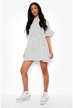White Tall Polka Dot Smock Dress