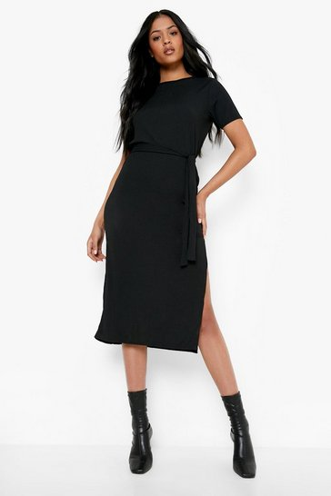 Black Tall Side Split Belted Rib T-Shirt Dress