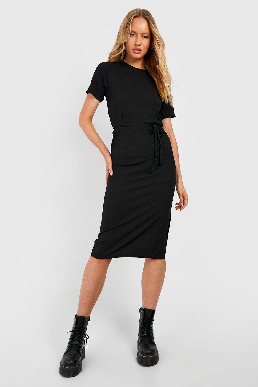 Tall Clothing Tall Side Split Belted Rib T-Shirt Dress