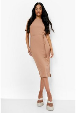 Camel beige Tall Side Split Belted Rib T-Shirt Dress