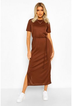 Chocolate brown Tall Side Split Belted Rib T-Shirt Dress