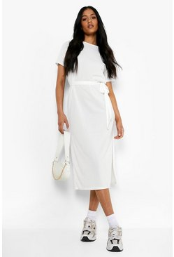 Ivory Tall Side Split Belted Rib T-Shirt Dress