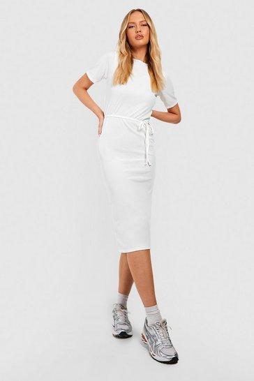 Ivory white Tall Side Split Belted Rib T-Shirt Dress