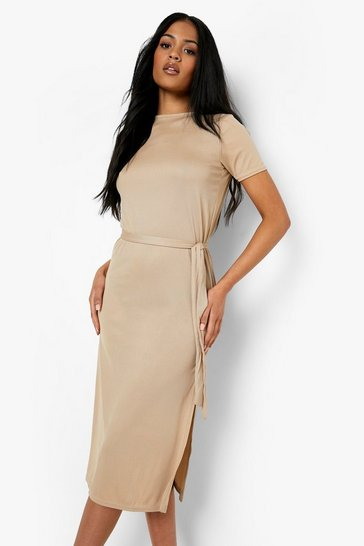 Stone beige Tall Side Split Belted Rib T-Shirt Dress