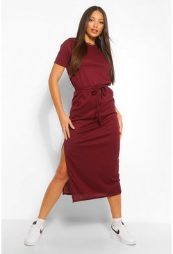 Wine red Tall Side Split Belted Rib T-Shirt Dress