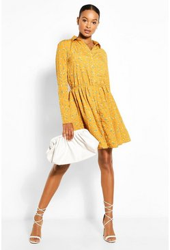 Mustard yellow Tall Ditsy Floral Shirt Dress