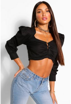 Black Tall Cotton Poplin Puff Sleeve Crop Top