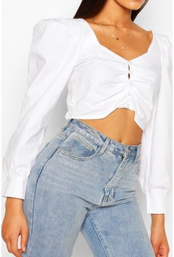Ivory Tall Cotton Poplin Puff Sleeve Crop Top