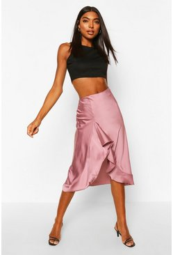 Mauve purple Tall Satin Ruffle Midi Skirt