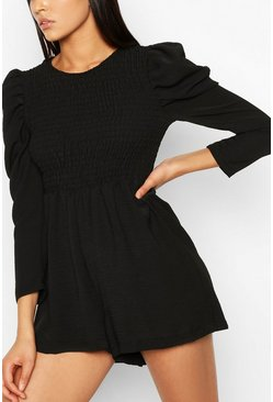 Black Tall Woven Shirred Detail Romper