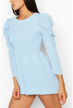 Pastel blue blue Tall Woven Shirred Detail Playsuit