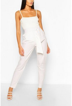 Ecru white Tall Cotton Poplin Tie Waist Trousers