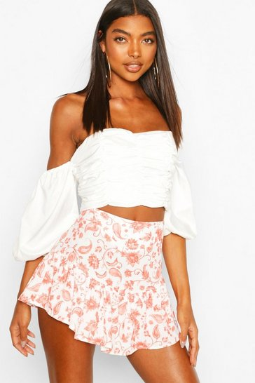 Coral pink Tall Woven Floral Print Ruffle Skort