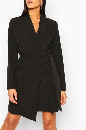 Black Tall Woven Ruched Side Tie Blazer Dress