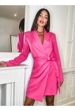 Bright pink Tall Woven Ruched Side Tie Blazer Dress