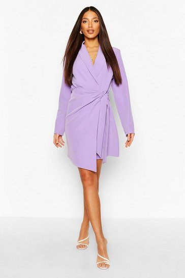 Lilac purple Tall Woven Ruched Side Tie Blazer Dress