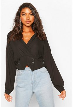 Black Tall Woven Tux Detail Wrap Blouse