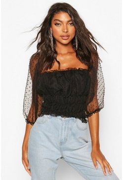 Black Tall - Crop top i prickig mesh
