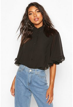 Black Tall Chiffon Ruffle Sleeve Top