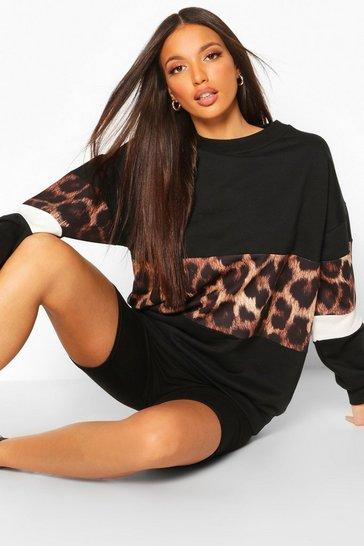 Black Tall Leopard Colour Block Oversize Sweatshirt