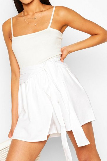 Ivory white Tall Linen Look Shorts